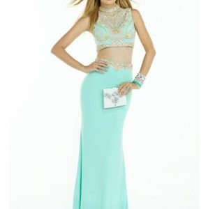 Two Piece Beaded Mint Prom Dress